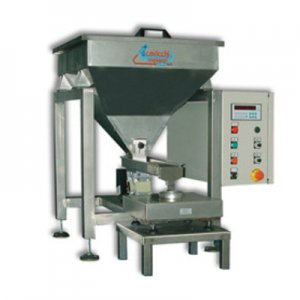 Filling machine with vibrating channel for small cans or bags with weighing device and adjustable frame.The vibrating channels are used for fragile products like cereal flakes.